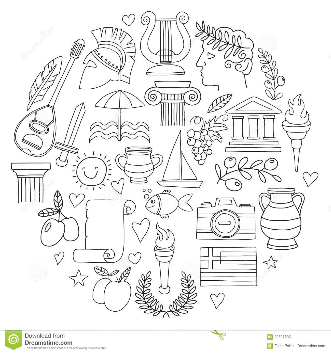 coloring pages wine food animals people | Ancient Greece Vector Elements In Doodle Style For ...