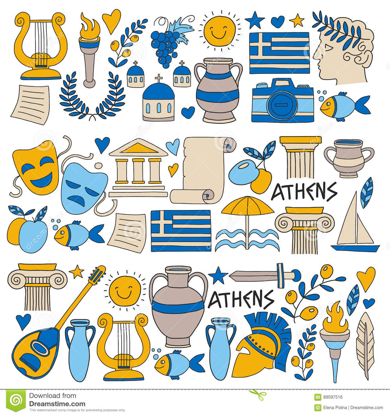 Ancient greece vector elements in doodle style travel for Ancient greek cuisine history