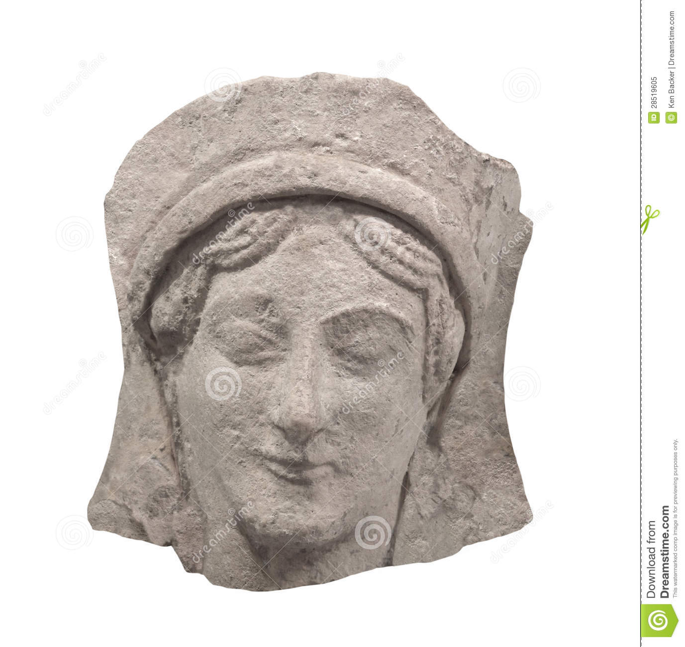 Ancient greek bas relief face isolated royalty free stock