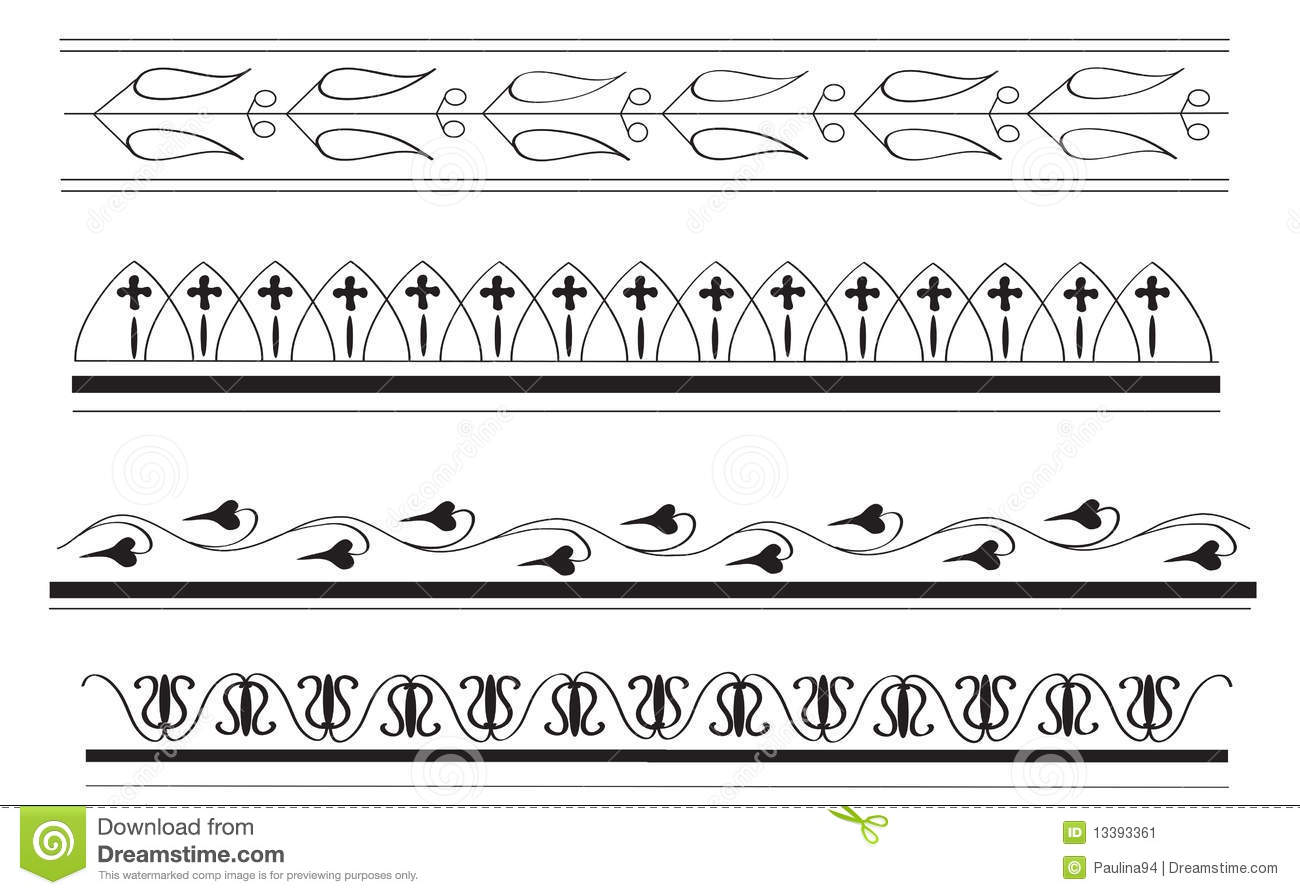 More handdrawn ancient Greek border designs in black on white ...