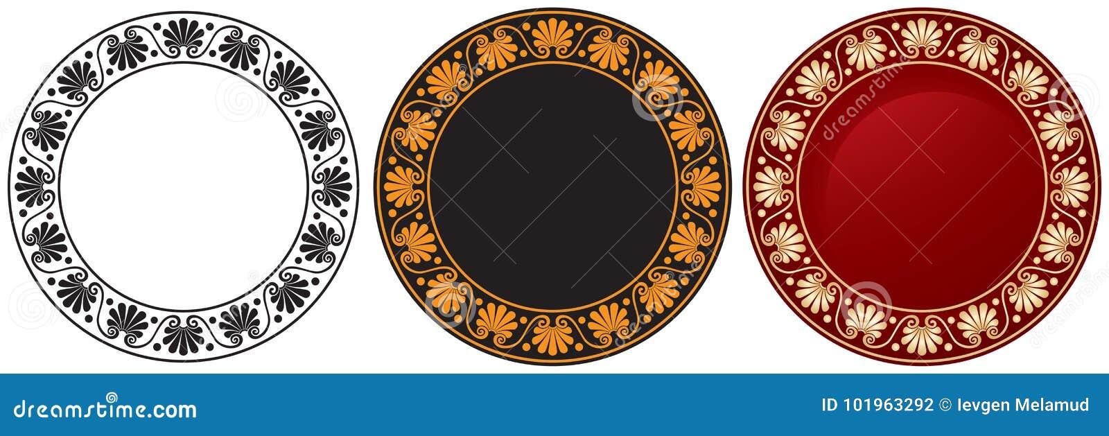 Ancient Greek Circle Ornament Stock Vector Illustration Of Black