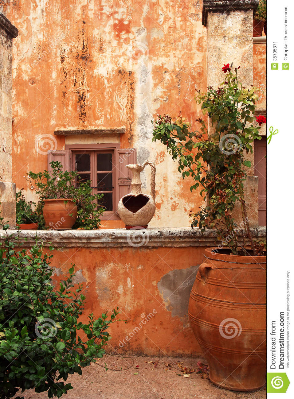 Ancient Greek Courtyard Stock Image Image 35705871