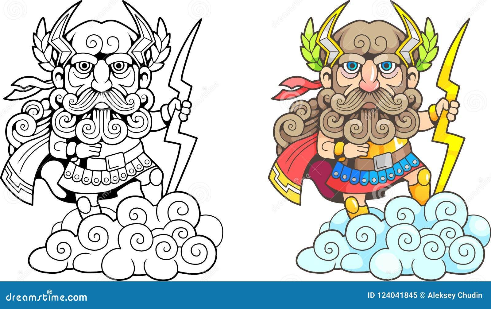 Ancient Greek God Zeus Funny Illustration Coloring Book