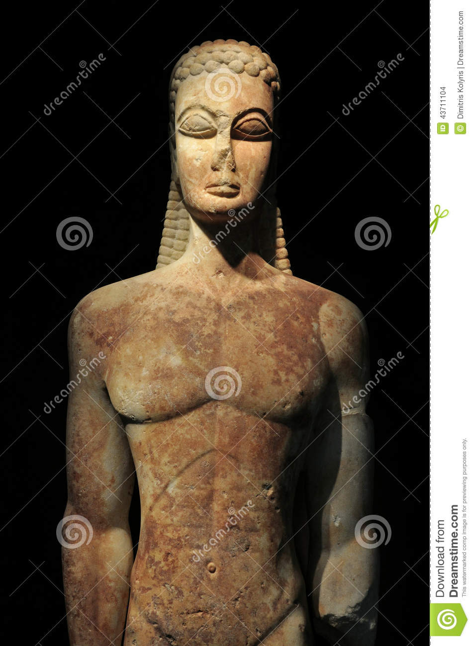 Kouros of the sacred gate ancient greek statue of male figure on black ...