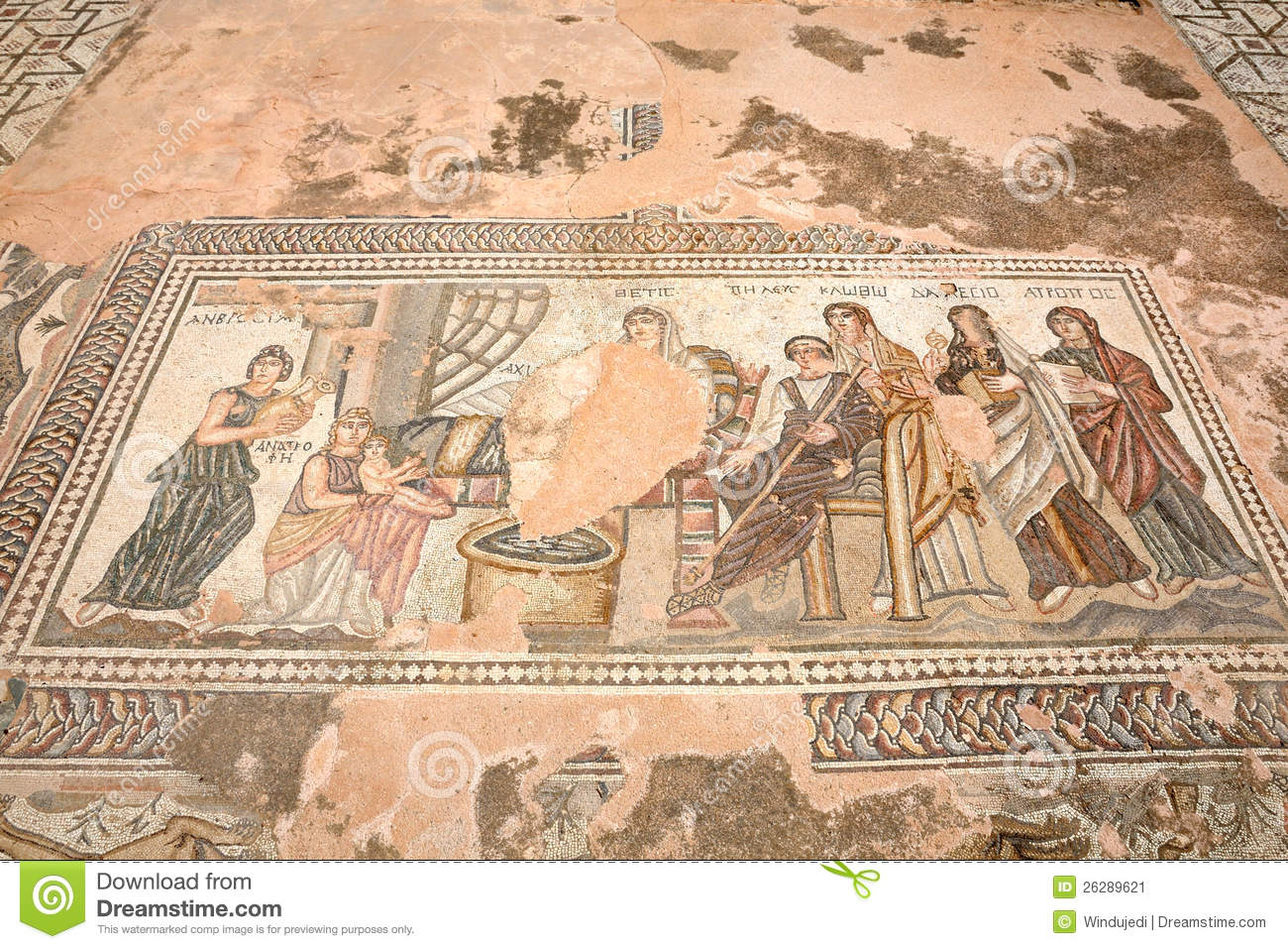 Ancient Greek Mosaic In In Paphos Cyprus Editorial Photo