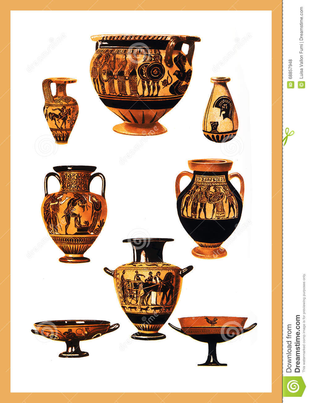 Ancient greek pottery with ocher and black decorations for Ancient greek pottery decoration