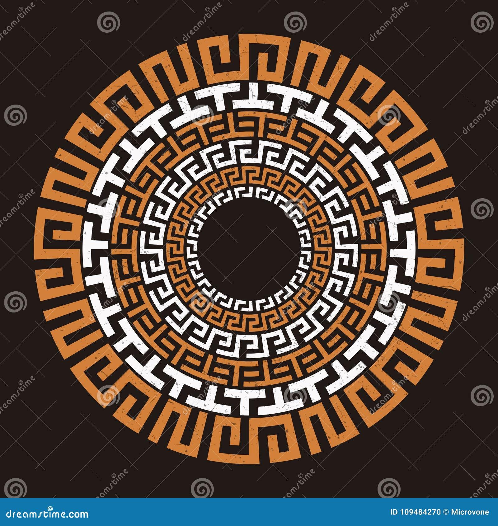Ancient Greek Round Meander Key Stock Vector Illustration Of