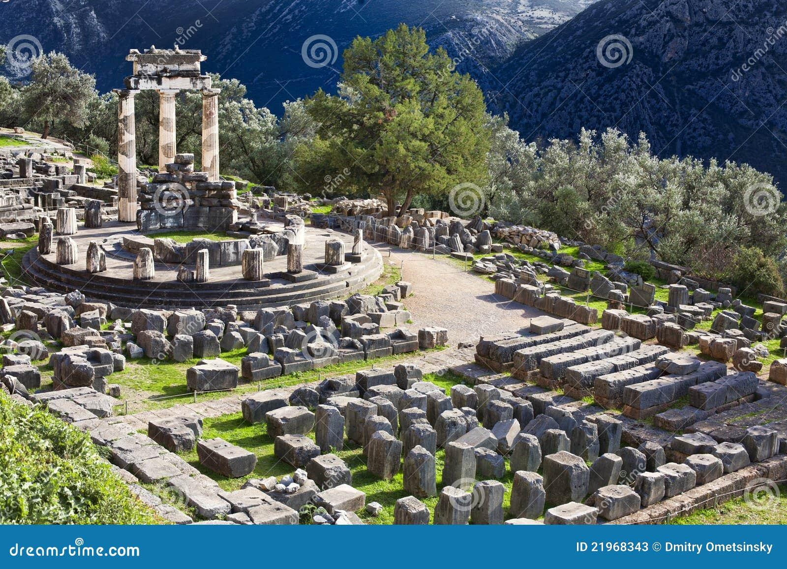 Delphi Greece  city photos gallery : ... of Ancient Greek temple of Athena on Mount Parnas in Delphi, Greece