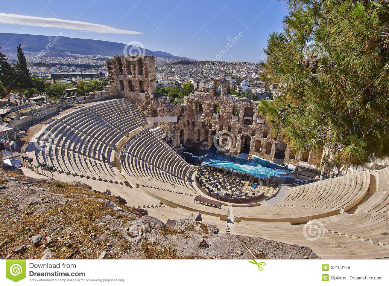 Royalty Free Stock Images: Ancient Greek theatre under Acropolis of ...