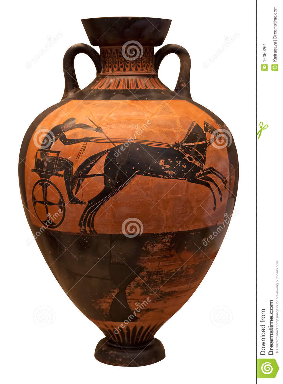Ancient greek vase depicting a chariot