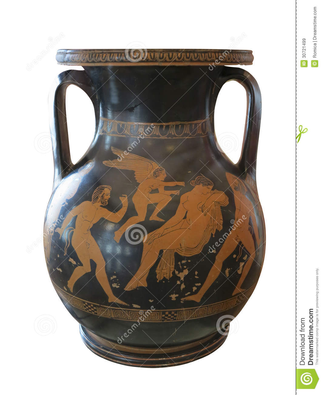 Ancient greek vase exposed in museum royalty free stock for Ancient greek pottery decoration
