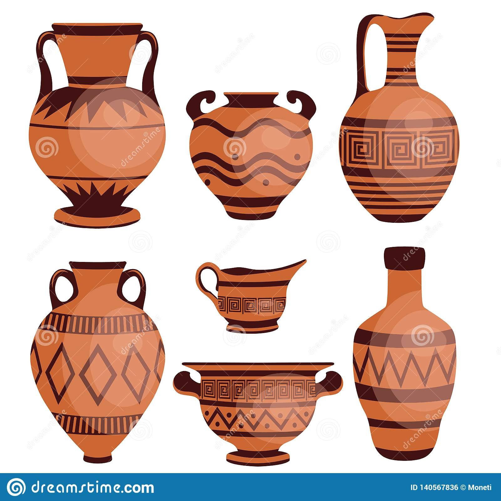 Ancient greek vases. stock vector. Illustration of isolated ...