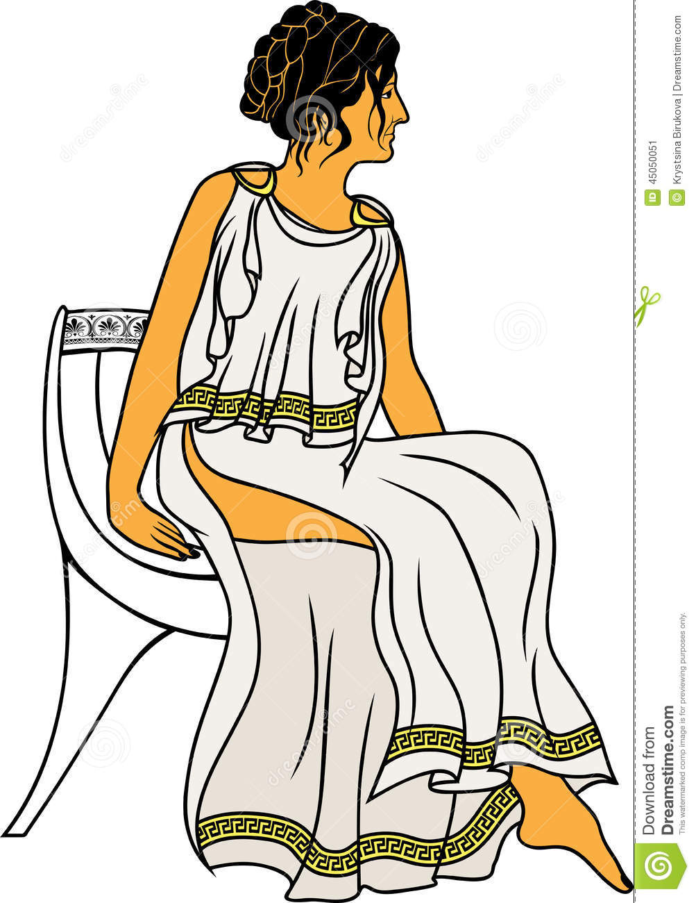Ancient greek chair - Ancient Greek Woman Sitting On A Chair Colored Variant