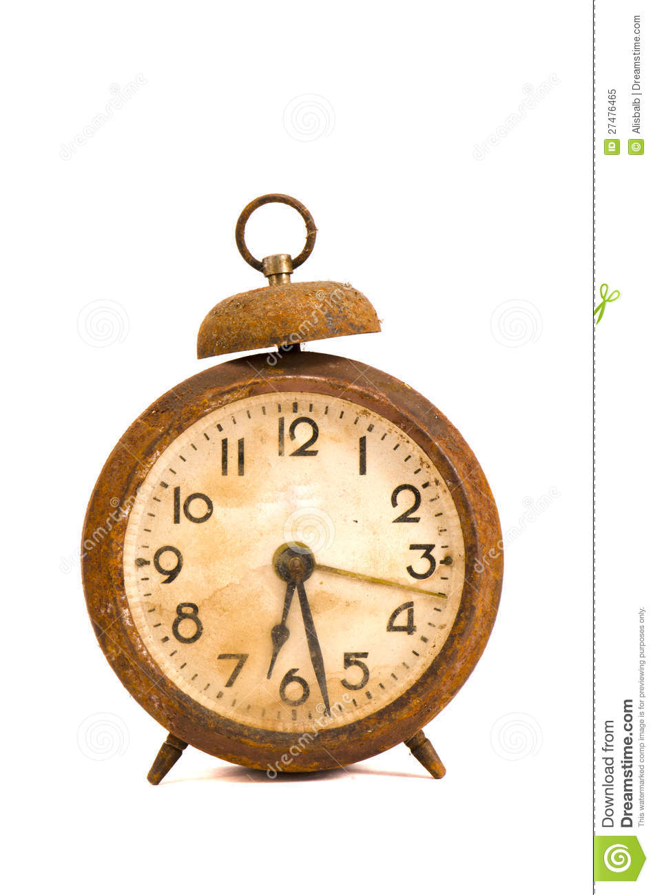Ancient Grunge And Rusted Alarm Clock On White Royalty
