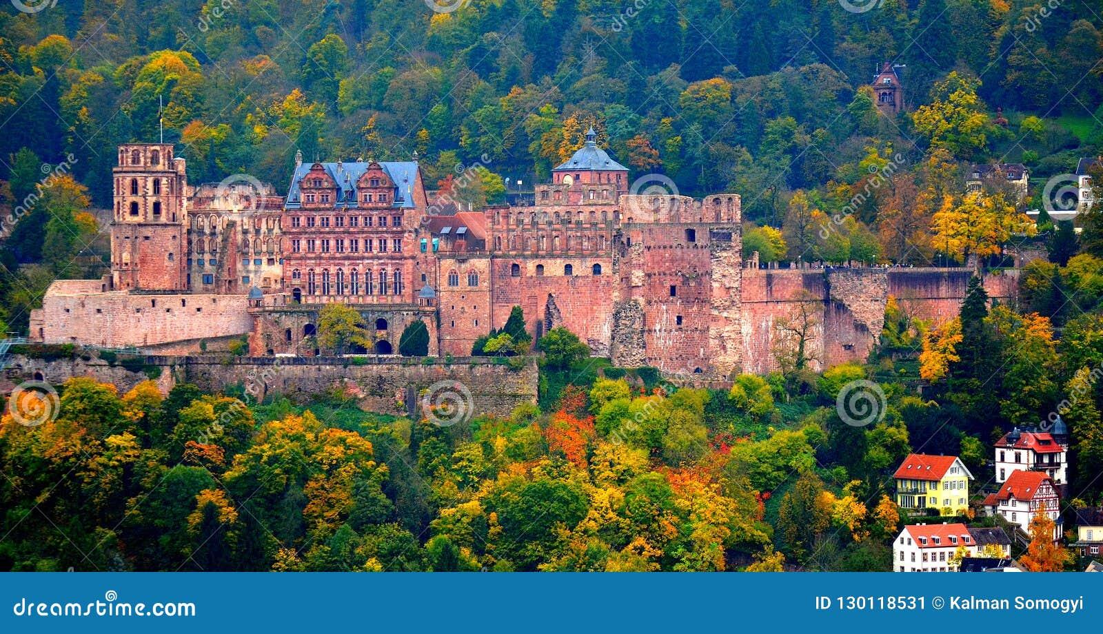 The ancient Heidelberg castle in autumn
