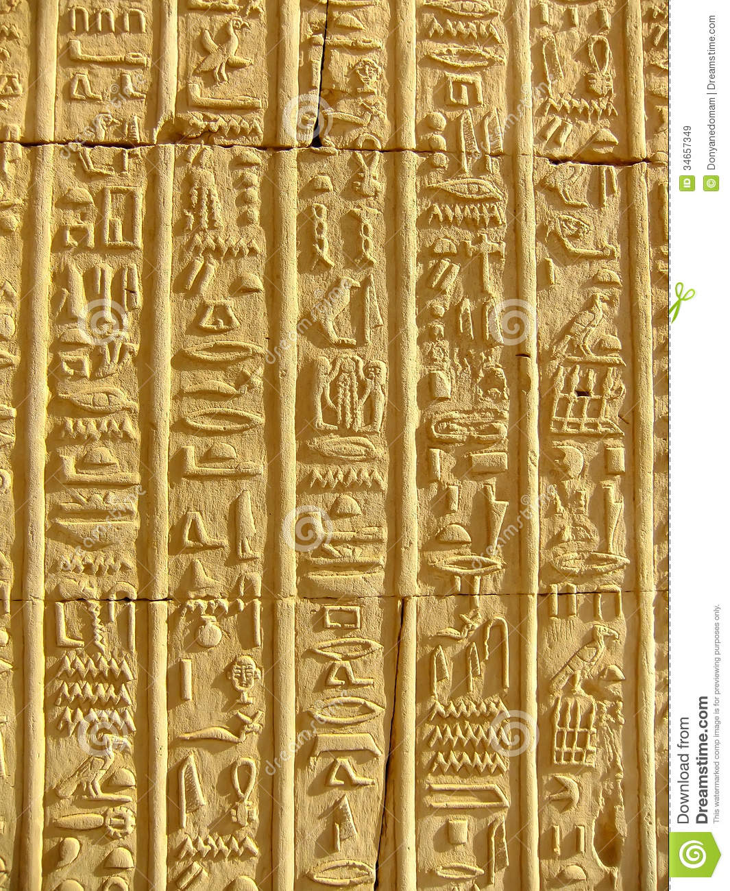 Ancient Hieroglyphics On The Wall Of Kom Ombo Temple Stock