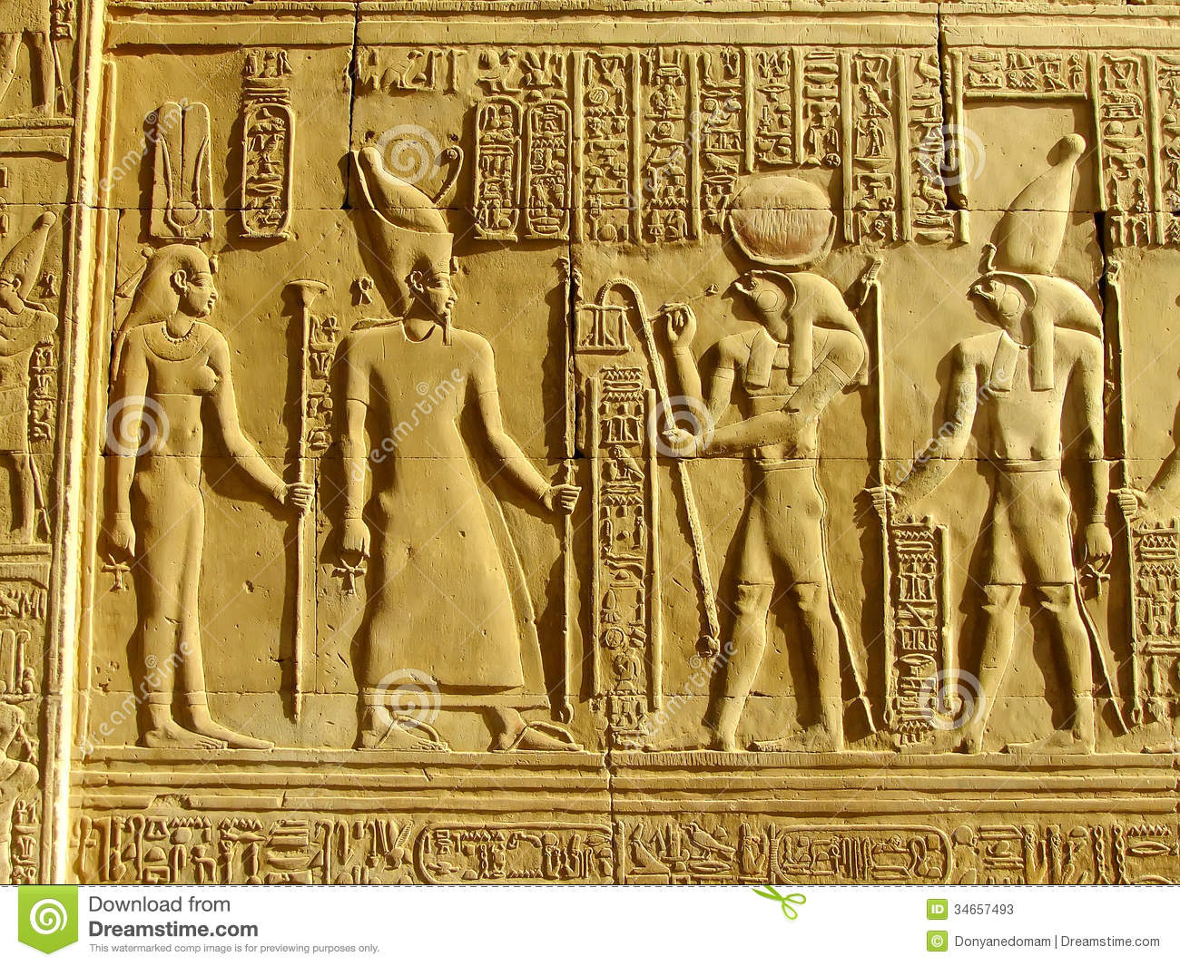 Ancient Hieroglyphics On The Wall Of Kom Ombo Temple Stock Image ...