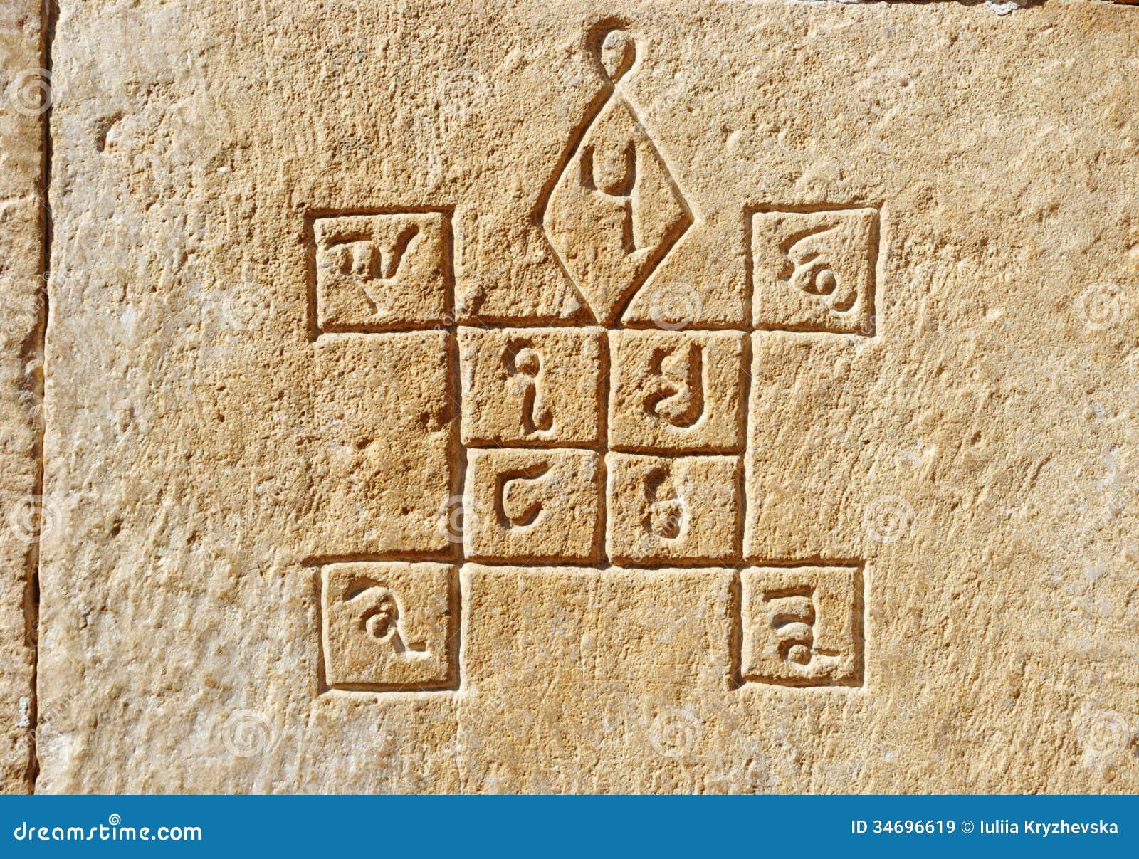 Ancient Hindu Astrology Symbols On The Walljaisalmerindia Stock