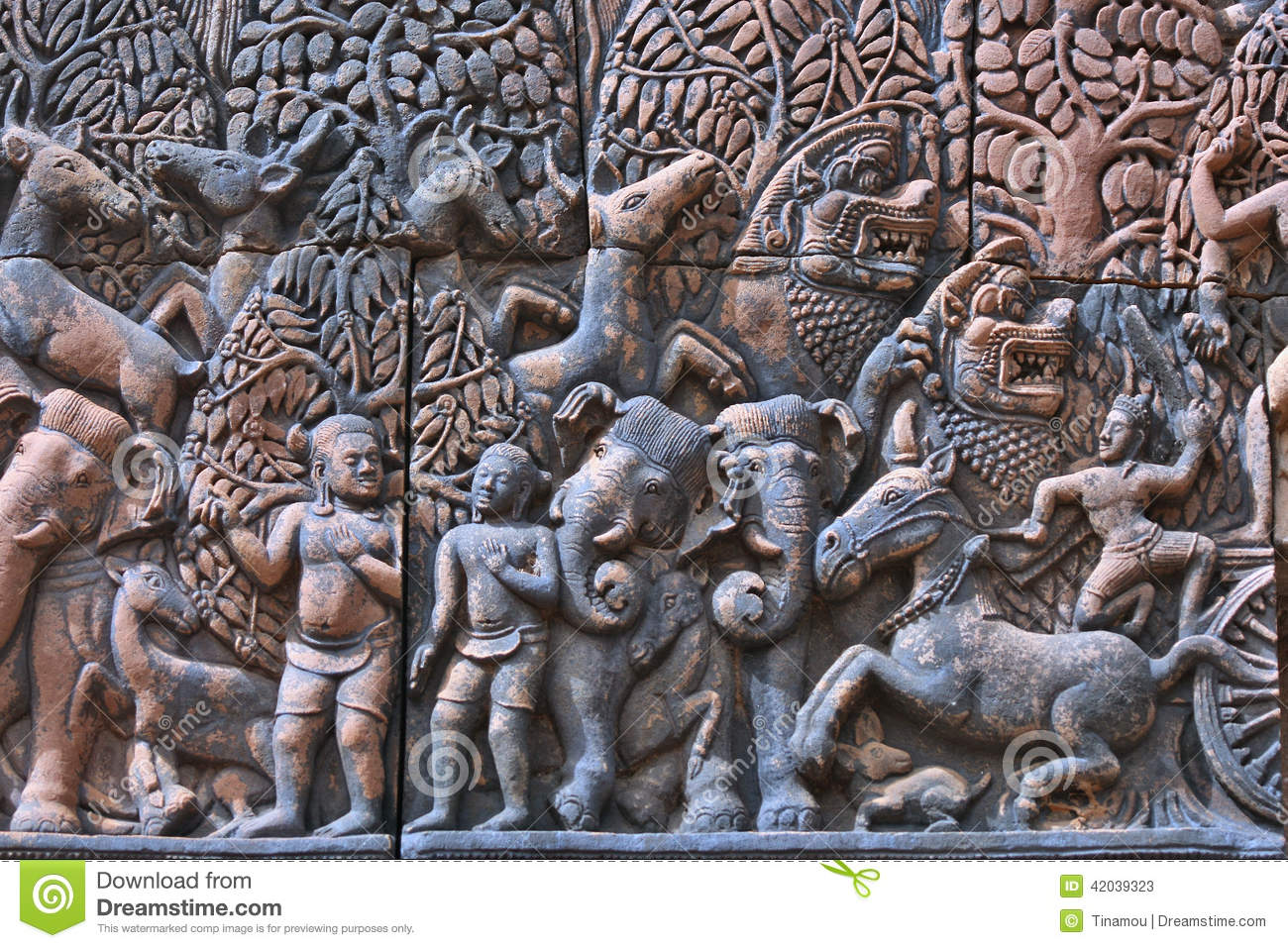 ancient hinduist bas-relief in angkor wat  cambodia stock image