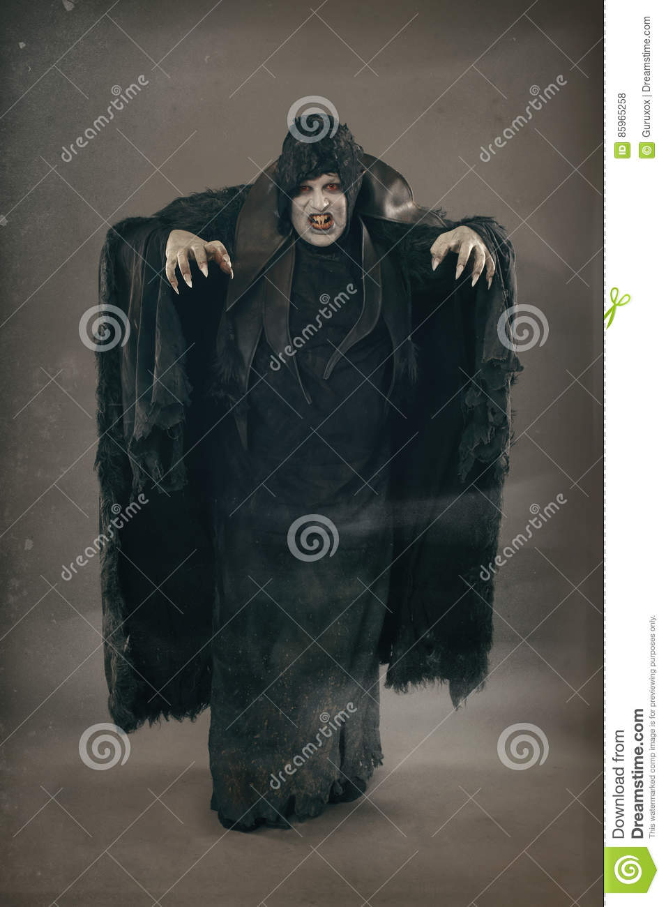 Ancient horror mutant vampire with large scary nails. Medieval f