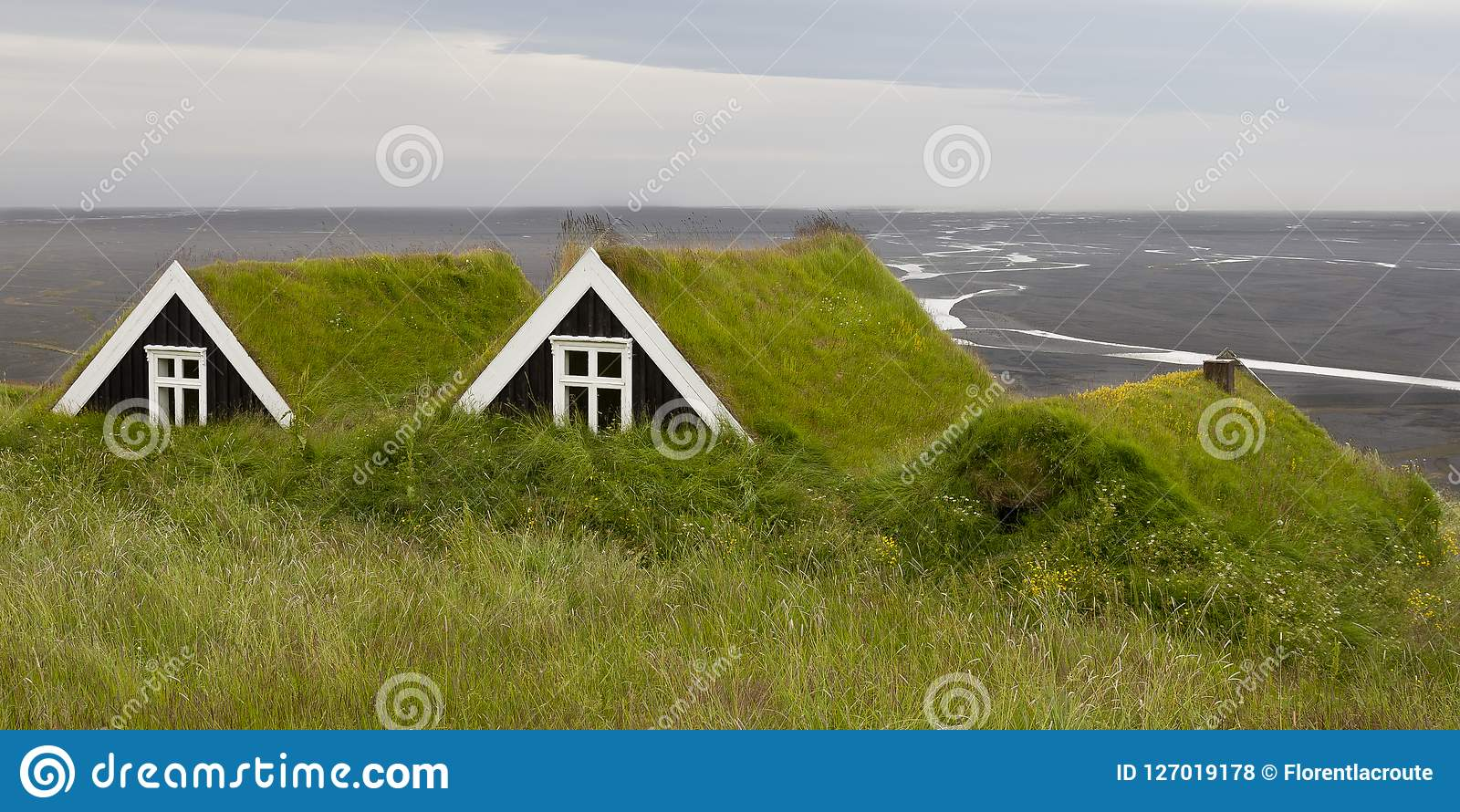 Ancient houses with Grass roof in iceland, overlooking a black s