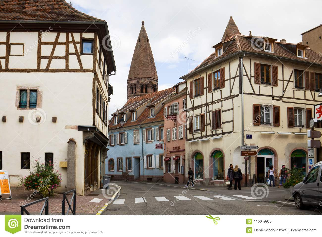 Architecte Bas Rhin the ancient houses in selestat editorial image - image of