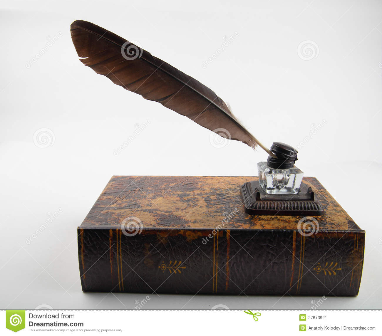 Ancient Soapstone Inkwell Stock Photo: Ancient Ink Pot With Quill On Old Tome Stock Image
