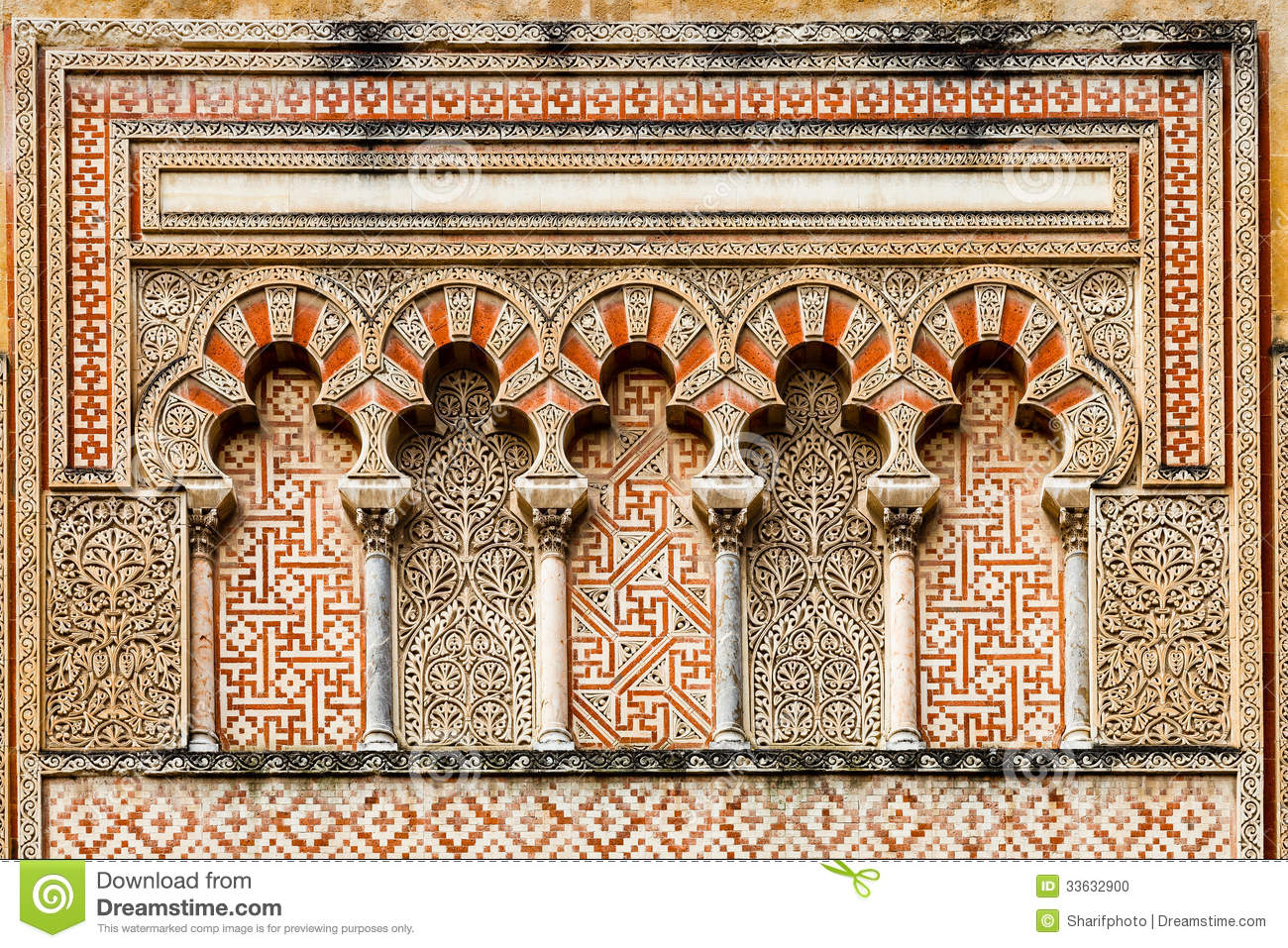 Detail of ancient islamic decoration with arches and pillars on the ...