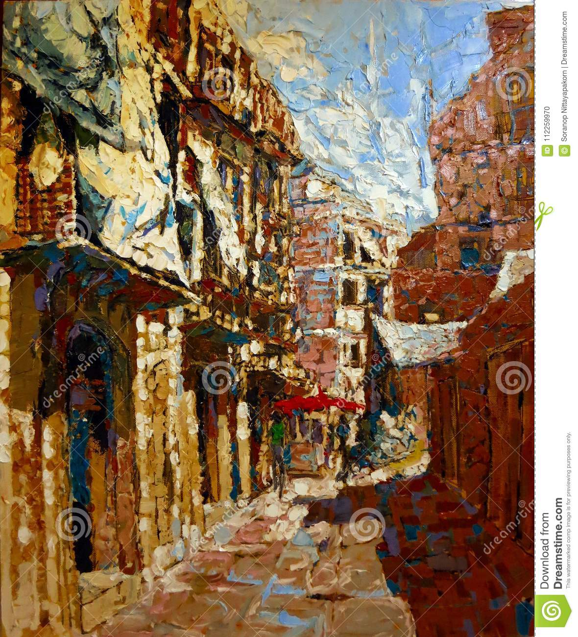 Ancient Italy City Painting In Acrylic Oil Colors Stock