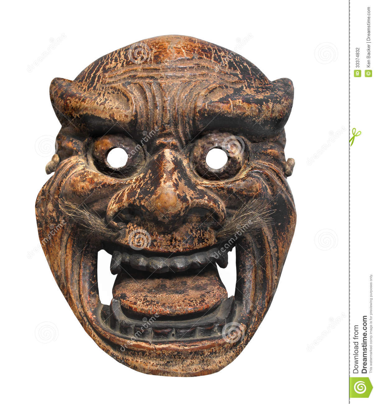 ancient japanese mask isolated stock photo image 33374832. Black Bedroom Furniture Sets. Home Design Ideas