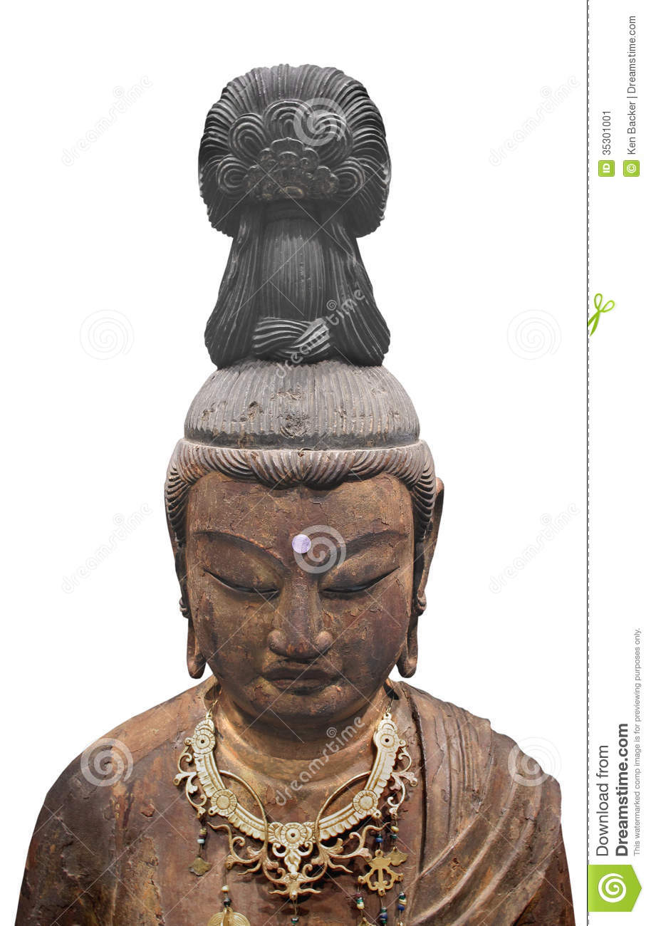 Ancient japanese head bust of a buddhavista, a teacher of buddhism
