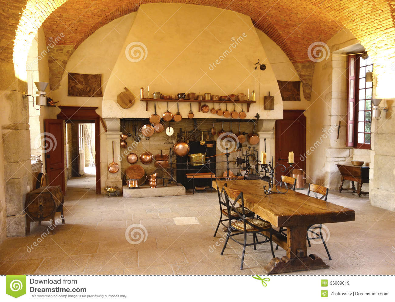 the ancient kitchen at chateau de pommard winery stock image image 36009019. Black Bedroom Furniture Sets. Home Design Ideas