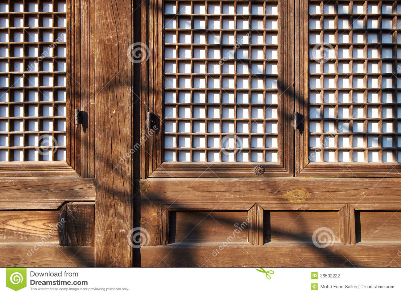 Ancient korean wooden window and wall design stock for Window design made of wood