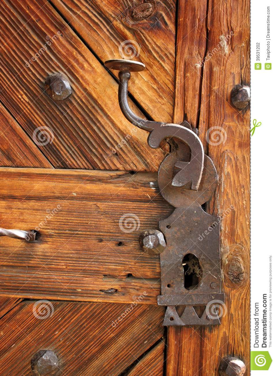 Ancient Latch On Beautiful Wooden Door Stock Photo Image