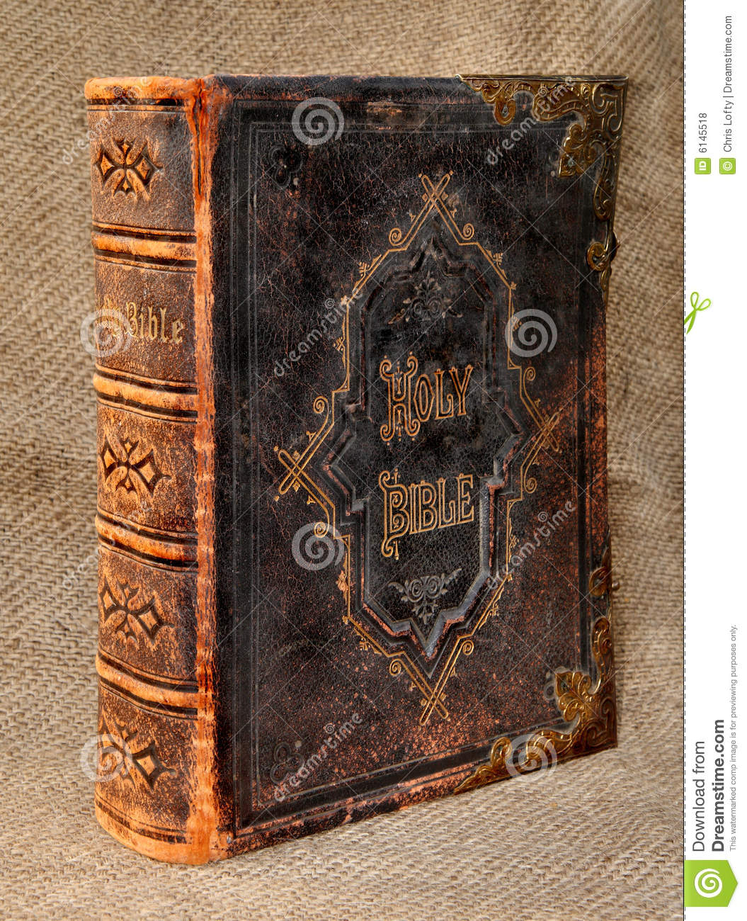Vintage Leather Look Jeremiah Verse Bible Book Cover Large: Ancient Leather Bound Holy Bible Royalty Free Stock Photos