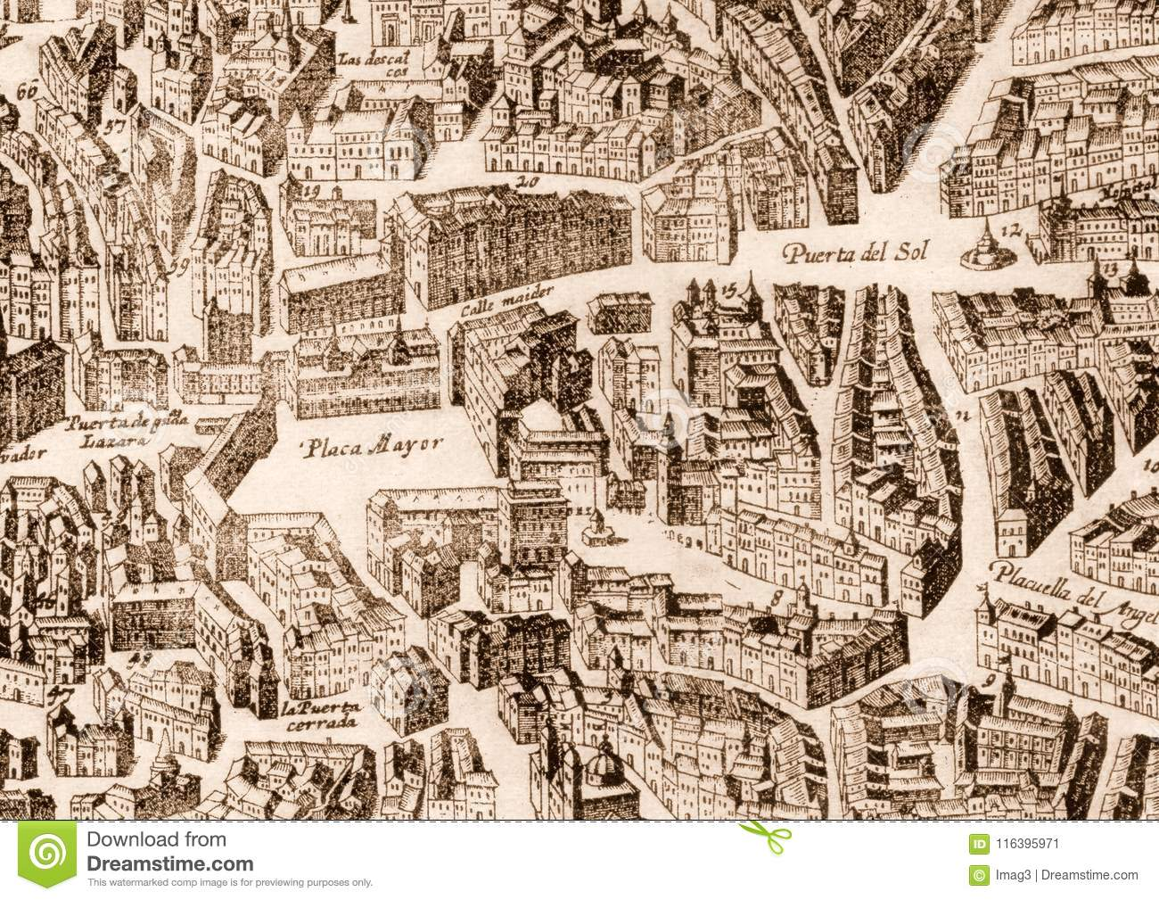 Ancient Madrid City Map Editorial Photo Image Of Design 116395971