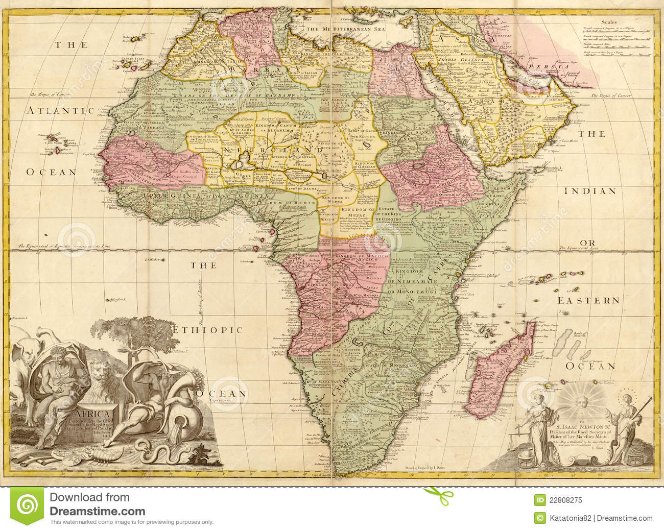 Ancient map of Africa stock illustration. Illustration of abassia
