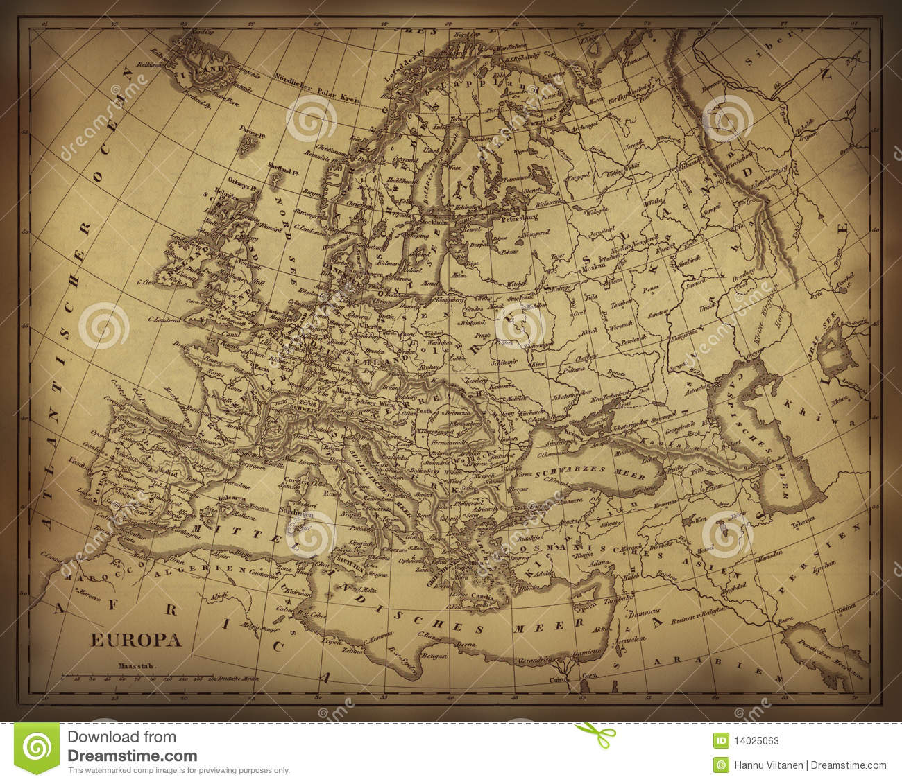 Ancient Map Of Europe Stock Photos Image 14025063