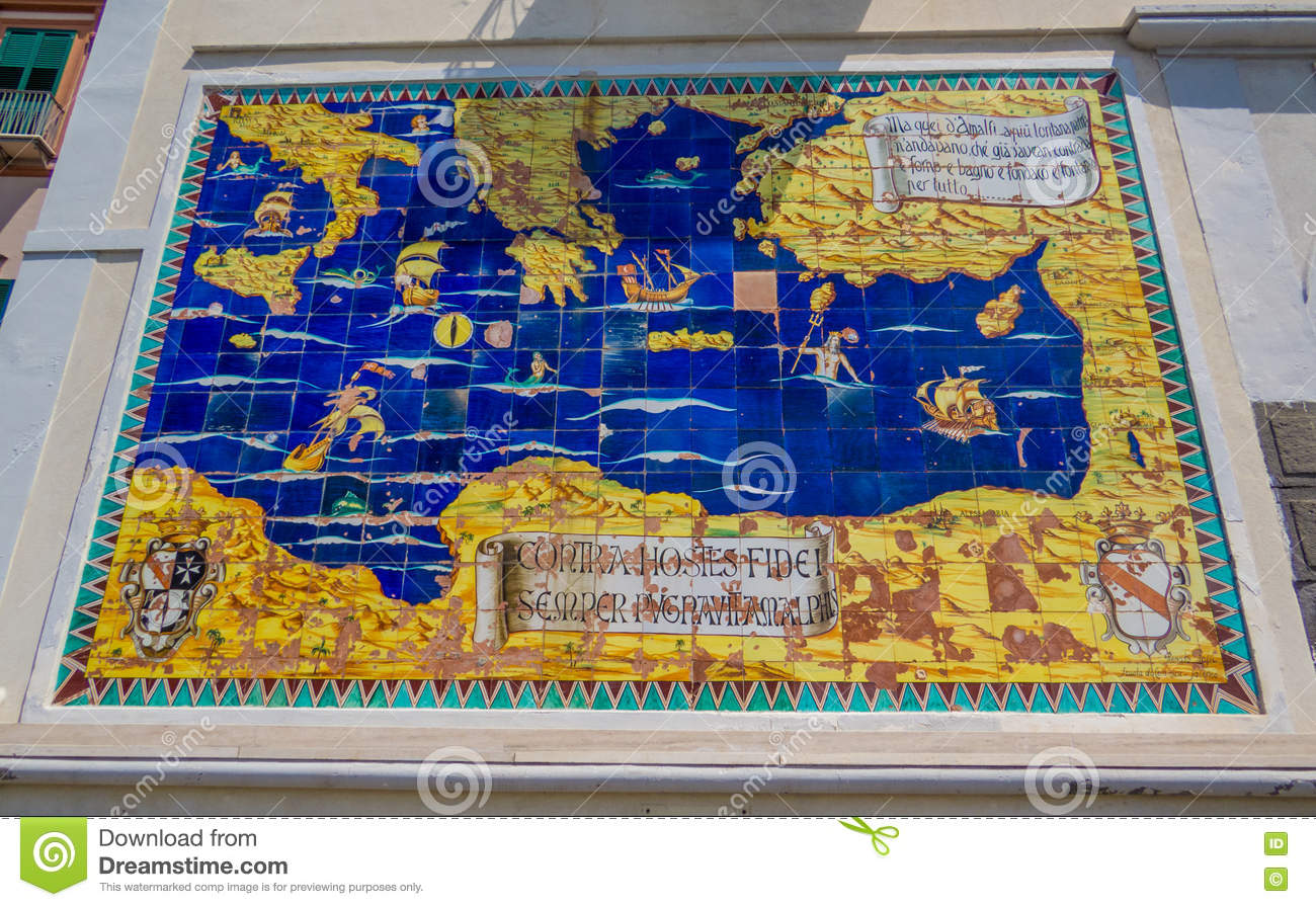 Ancient Map Of The Mediterranean Stock Image - Image of ...