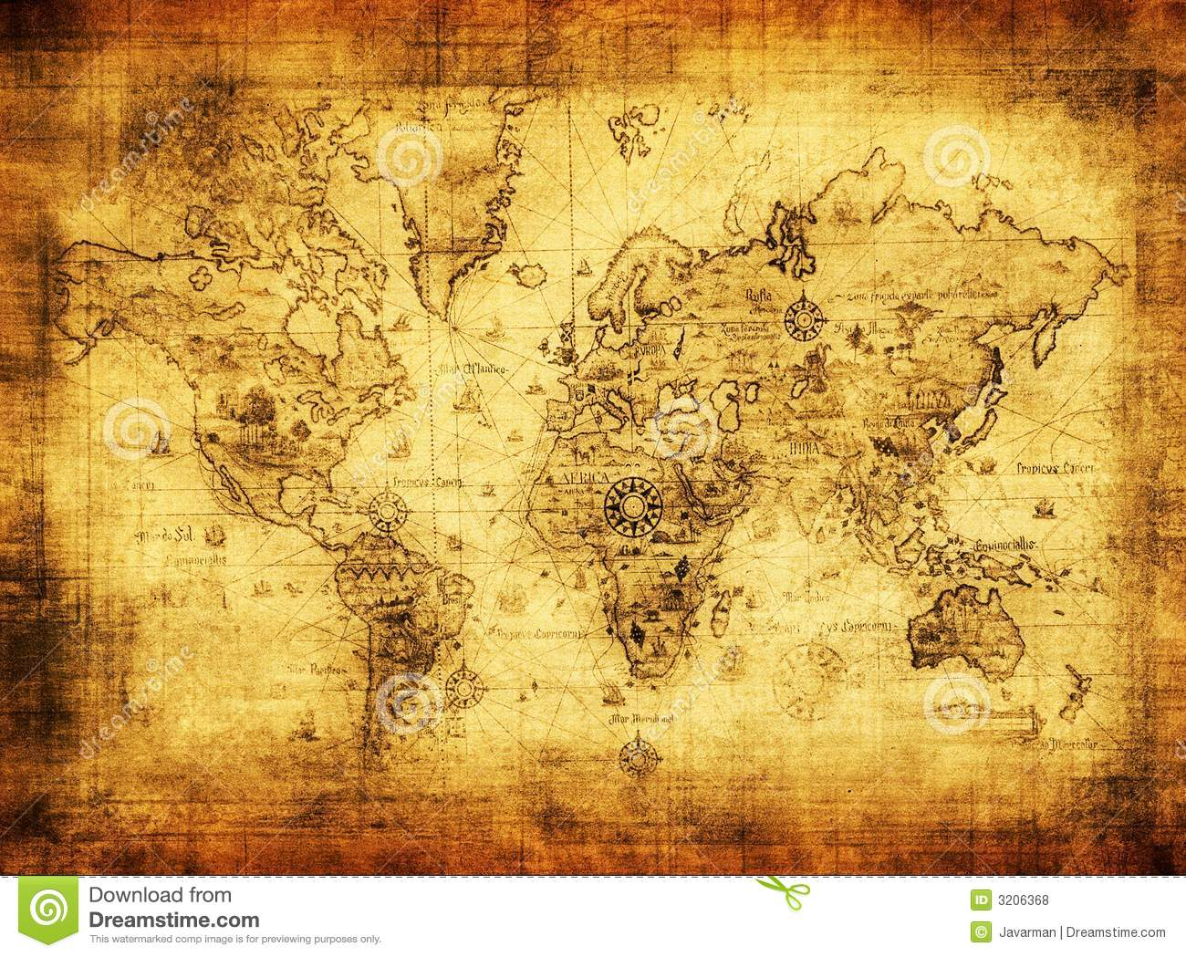 Ancient Map Of The World Royalty Free Stock Photos - Image: 3206368