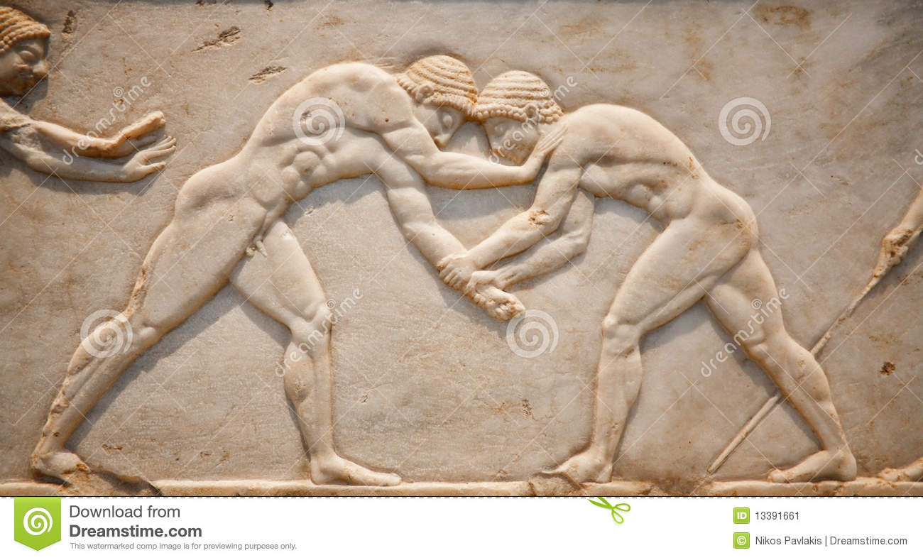 Ancient Marble Tablet Showing Greek Wrestling Stock Image