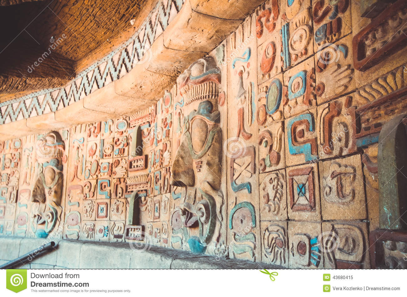 Ancient Maya And Aztecs Pattern Stock Image - Image: 43680415