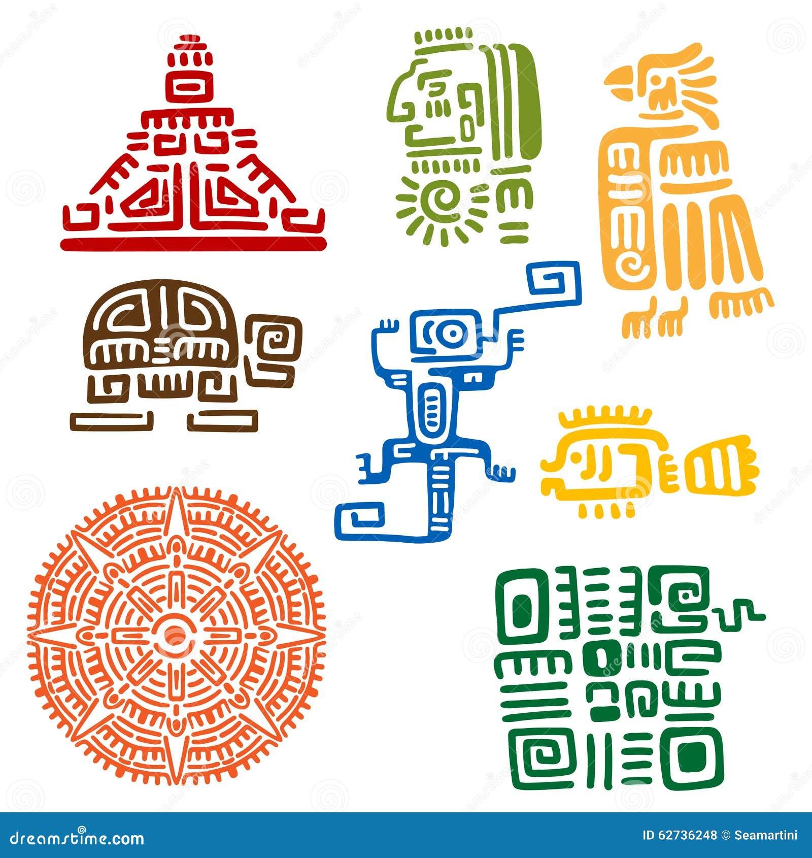 Aztec And Maya Ancient Animal Symbols Stock Vector Illustration Of
