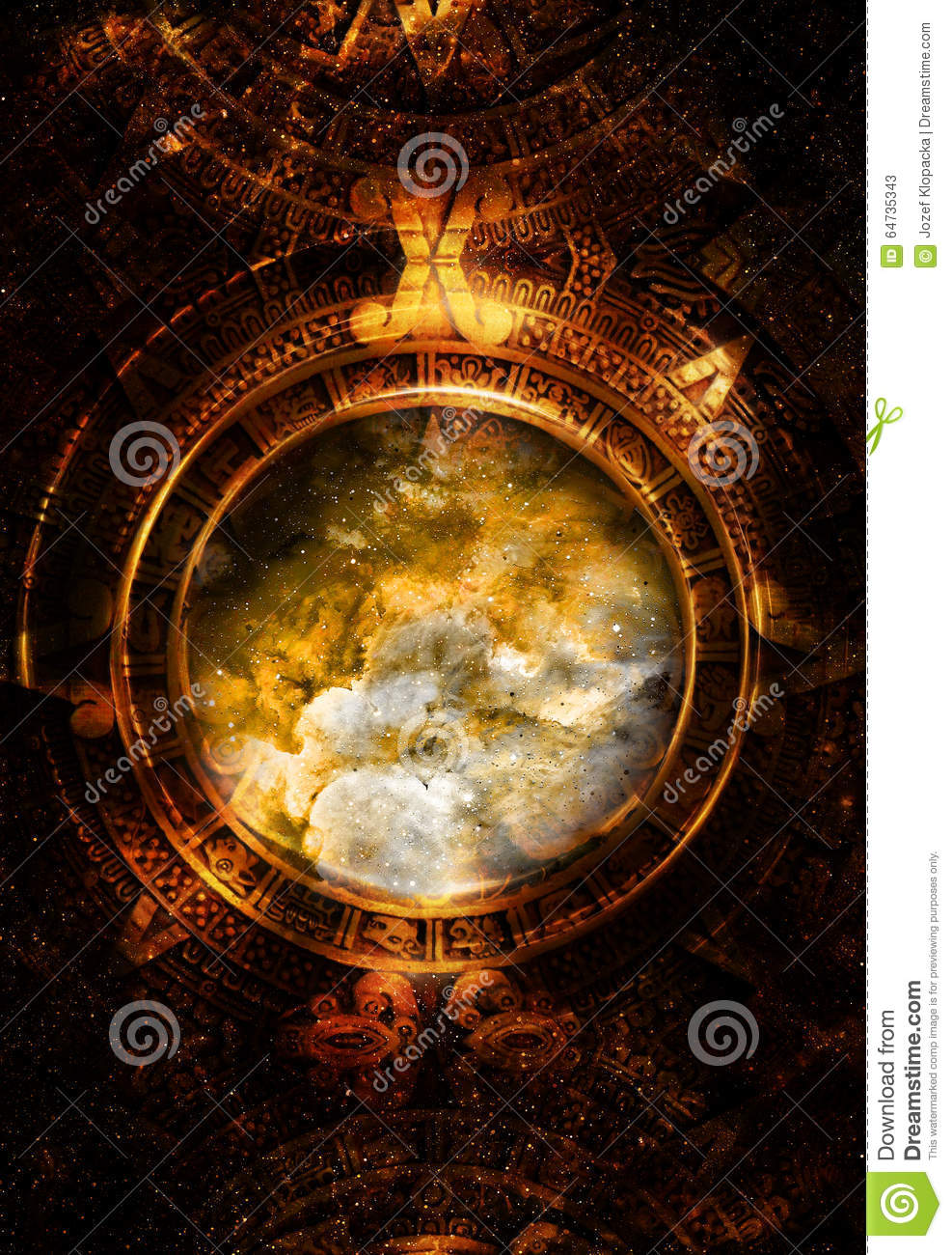 Ancient Mayan Calendar, Cosmic Space And Stars Stock Illustration ...