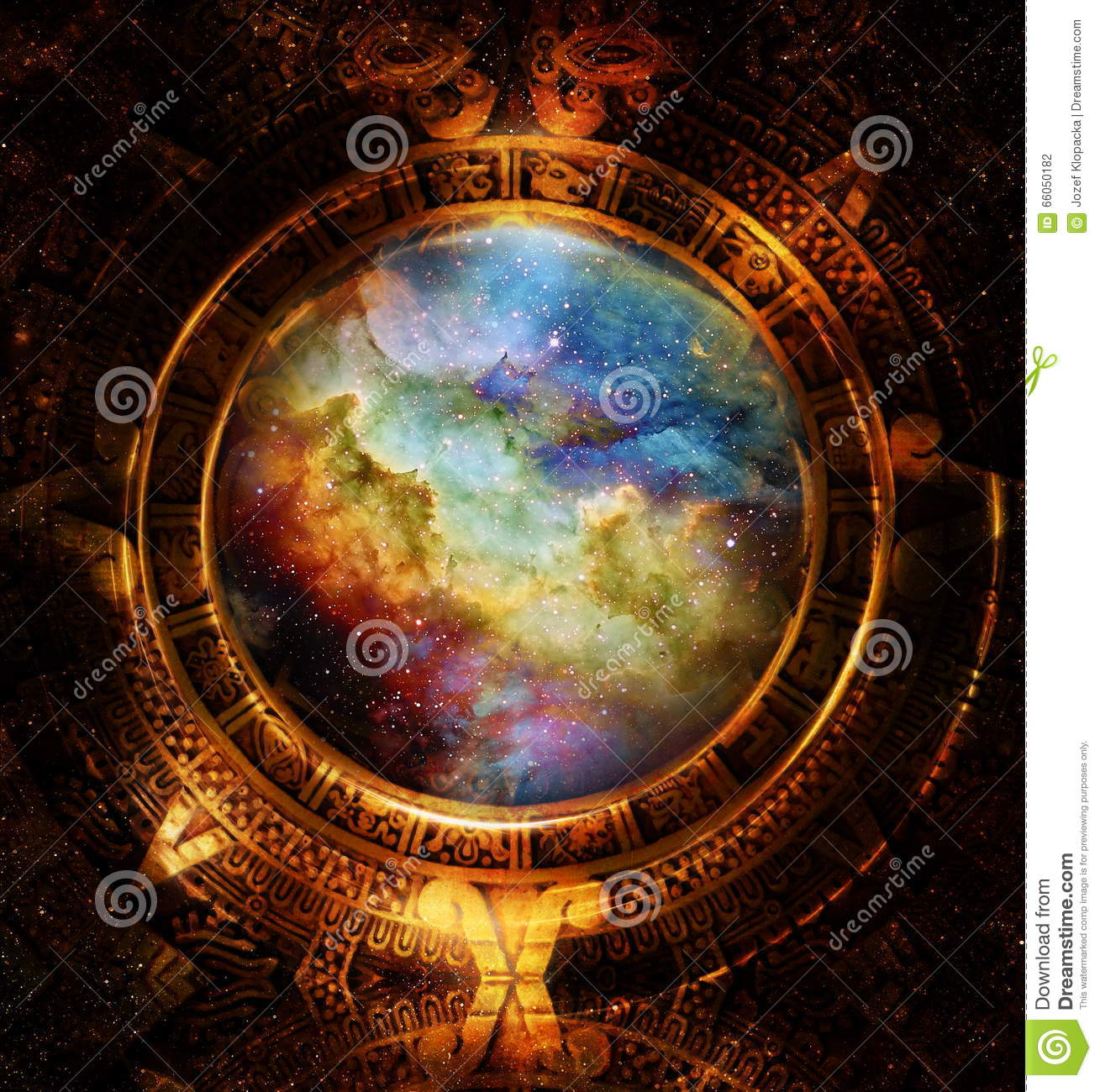 Ancient mayan calendar cosmic space and stars abstract for Significado de exterior