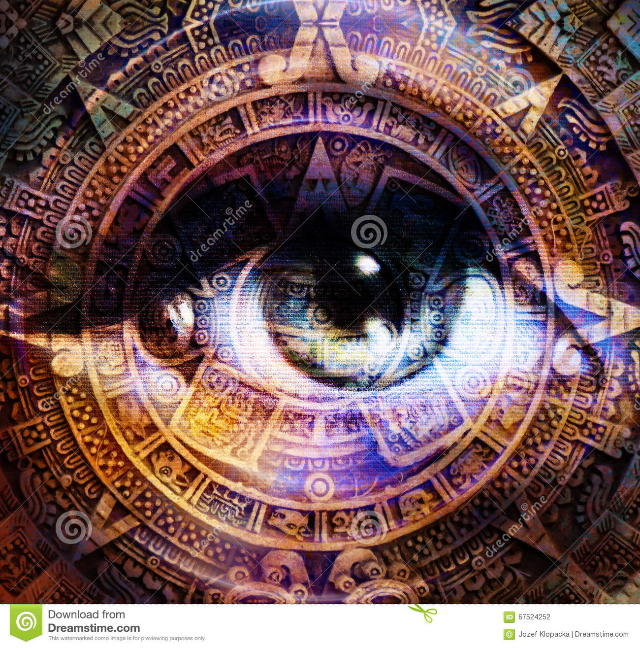 Ancient Mayan Calendar And Woman Eye Abstract Color Background