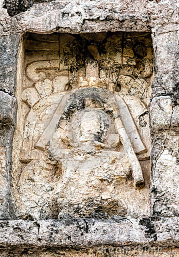 Ancient Mayan Carving On The Wall Of The Temple Of The Frescoes ...