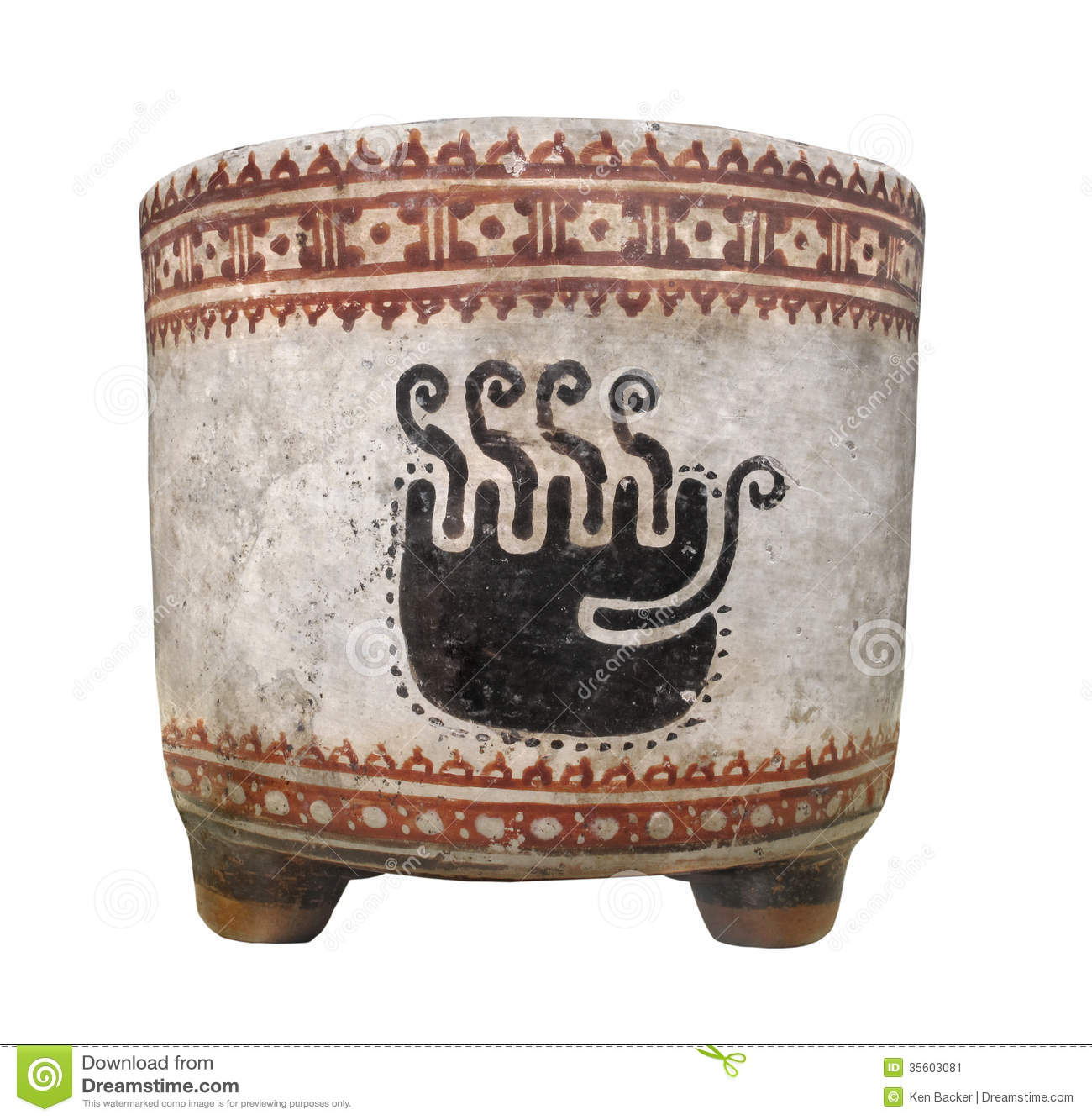 Ancient Mayan Clay Cup Isolated Stock Image Image 35603081