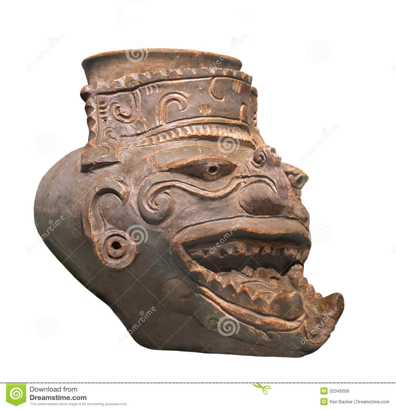 Ancient Mayan Fire God Figure Isolated Royalty Free Stock