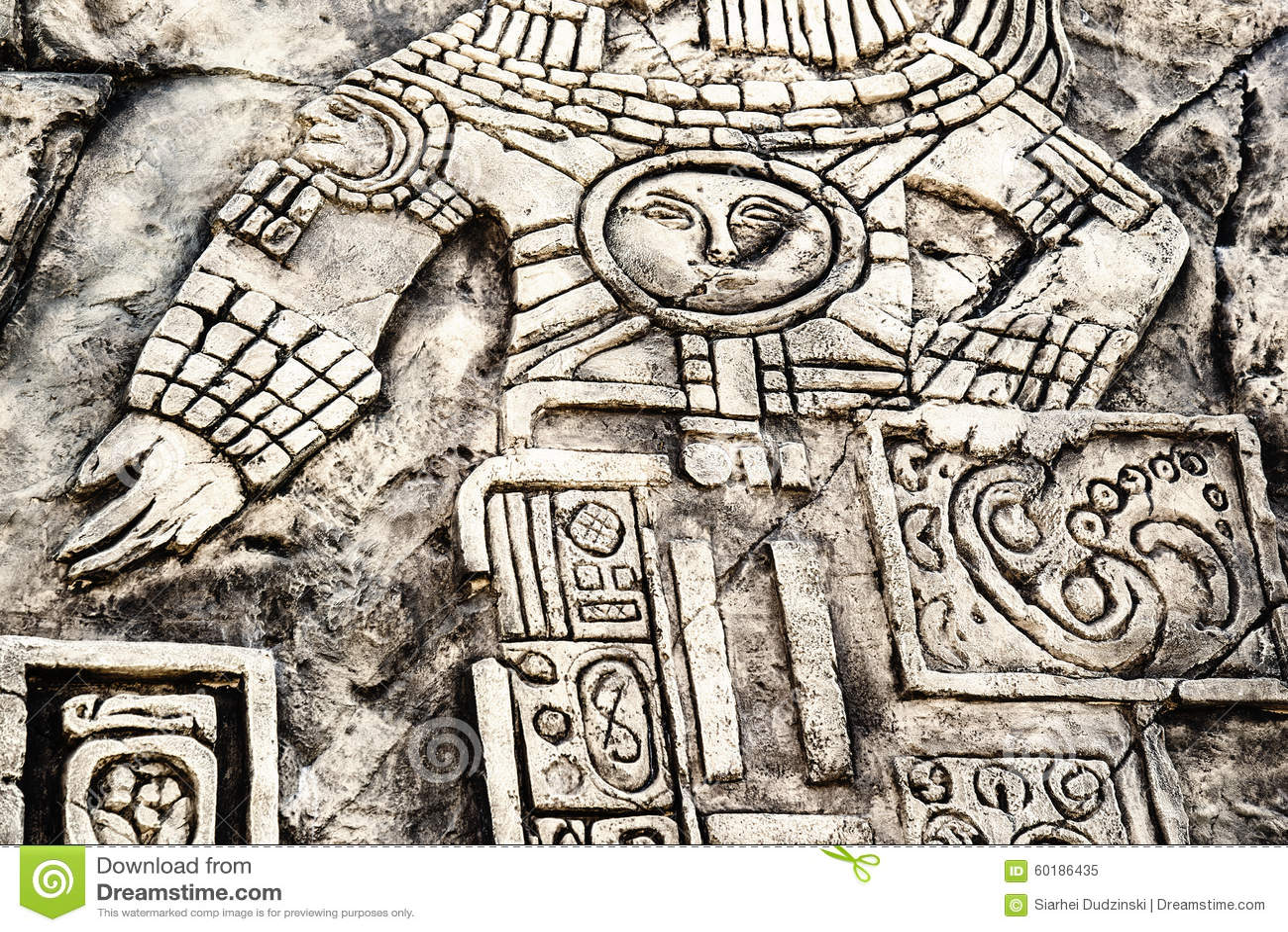 Ancient Mayan Hieroglyphics Stock Photo Image 60186435